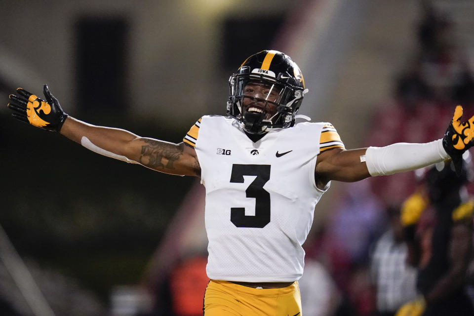Iowa wide receiver Tyrone Tracy Jr. reacts after scoring a touchdown against Maryland during the second half of an NCAA college football game, Friday, Oct. 1, 2021, in College Park, Md. (AP Photo/Julio Cortez)