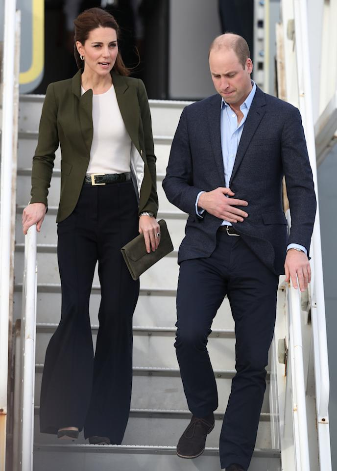 <p>The following day, the couple touched down in Cyprus to honour military personnel serving overseas during the Christmas season. This time, the Duchess wore a Meghan-inspired ensemble courtesy of a Smythe blazer and wide-leg trousers. A co-ordinating clutch and shoes (both by LK Bennett) finished the look. <em>[Photo: Getty]</em> </p>