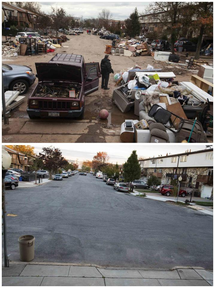 A combination photo shows a man standing next to a damaged vehicle while looking at flood damaged property thrown into the streets on November 1, 2012 (top) and a recent view of the same street in the New Dorp Beach neighborhood of the Staten Island borough of New York on October 22, 2013 (bottom). The historic superstorm killed at least 159 people and damaged more than 650,000 homes when it made landfall on October 29, 2012, devastating parts of New York, New Jersey and several other states. TO MATCH ONE YEAR HURRICANE SANDY ANNIVERSARY BEFORE AFTER PACKAGE. Picture 23B. REUTERS/Lucas Jackson (UNITED STATES - Tags: ANNIVERSARY DISASTER ENVIRONMENT)