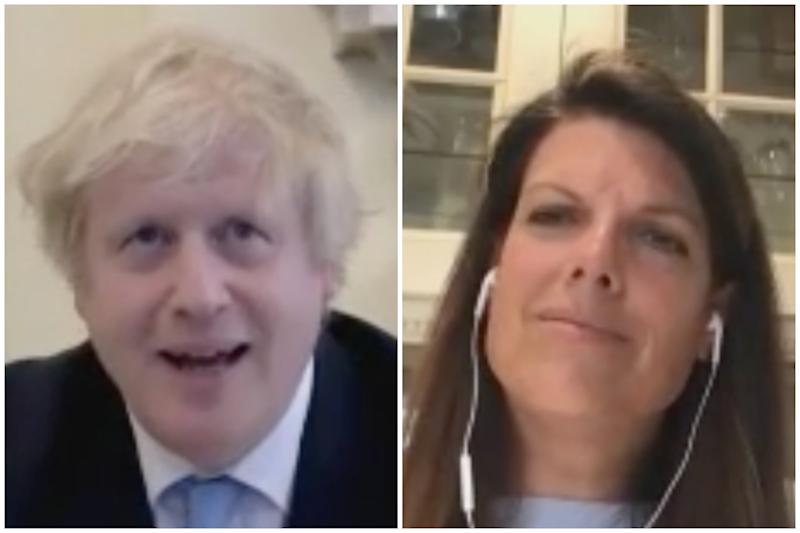 Boris Johnson and Caroline Nokes at the liaison committee on Wednesday. (Parliamentlive.tv)