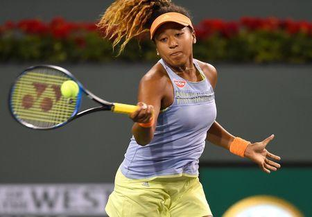 Mar 7, 2018; Indian Wells, CA, Naomi Osaka (JPN) in her first round match against Maria Sharapova (not pictured) at the BNP Paribas Open at the Indian Wells Tennis Garden. Jayne Kamin-Oncea-USA TODAY Sports