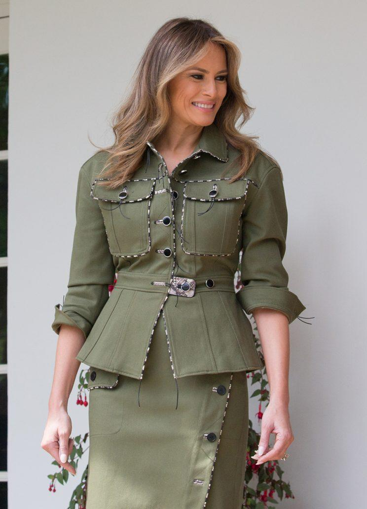 Melania Trump Wears A Safari Suit While Argentine First