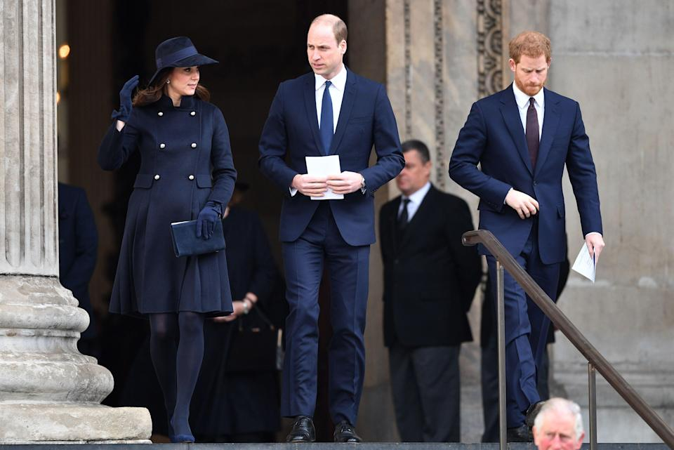 (From left) Kate Middleton, Prince William, Prince Harry. (Credit: REX)