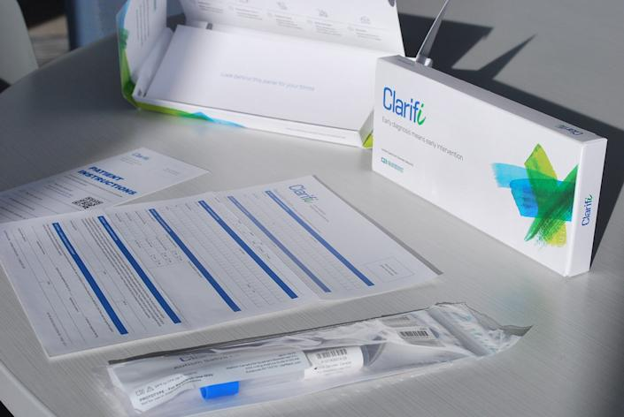 Clarifi, an epigenetic saliva test, comes in a kit that is administered by a medical professional. The test, by Syracuse-based Quadrant Biosciences, is intended to predict an autism spectrum diagnosis.
