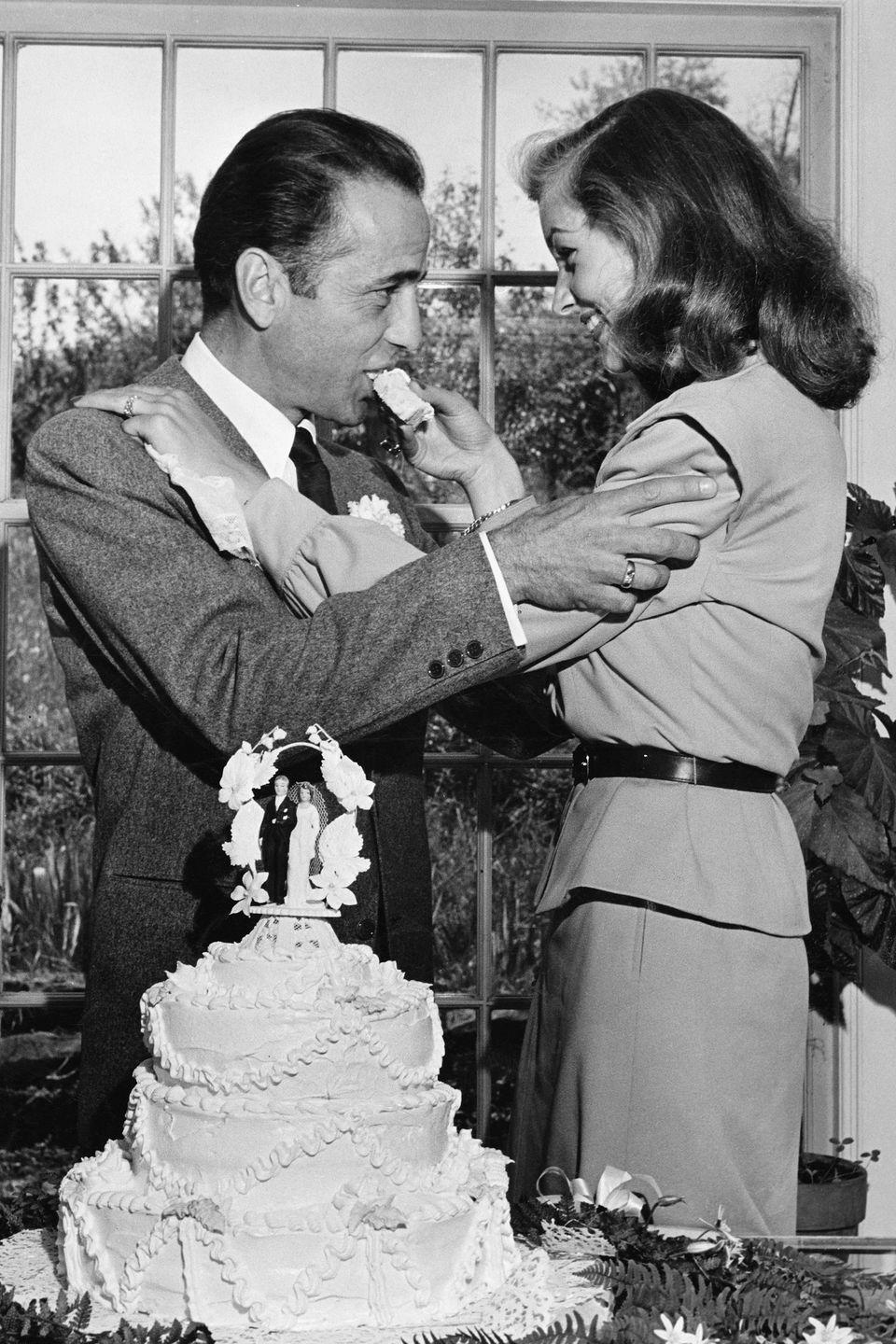 <p>When Humphrey Bogart fell in love with Lauren Bacall on the set of <em>To Have and Have Not</em>, he was 25 years older than his costar—not to mention married at the time. Their affair blossomed into one of Hollywood's most legendary romances and in 1945 the couple got married on the farm of Bogart's friend and Pulitzer Prize winner, Louis Bromfield, in Lucas, Ohio. </p>