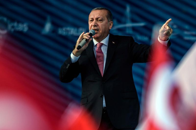 """Turkish President Recep Tayyip Erdogan, pictured on August 26, 2016, told a rally in Gaziantep, """"We will make any kind of contribution to the work to clear Daesh (IS) from Syria"""""""