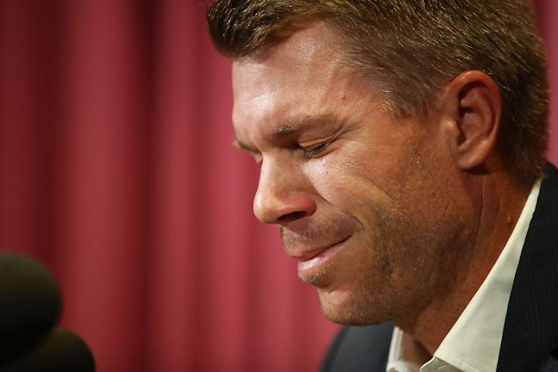 SYDNEY, AUSTRALIA - MARCH 31: Australian cricketer David Warner breaks down during a press conference at Cricket NSW Offices on March 31, 2018 in Sydney, Australia. Warner was banned from cricket for one year by Cricket Australia following the ball tampering incident in South Africa. (Photo by Brendon Thorne/Getty Images)