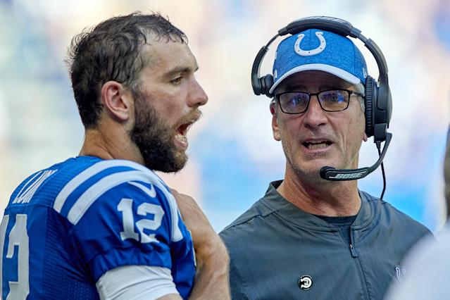Andrew Luck defended Frank Reich's overtime decision to go for it on fourth-and-4. (Getty Images)