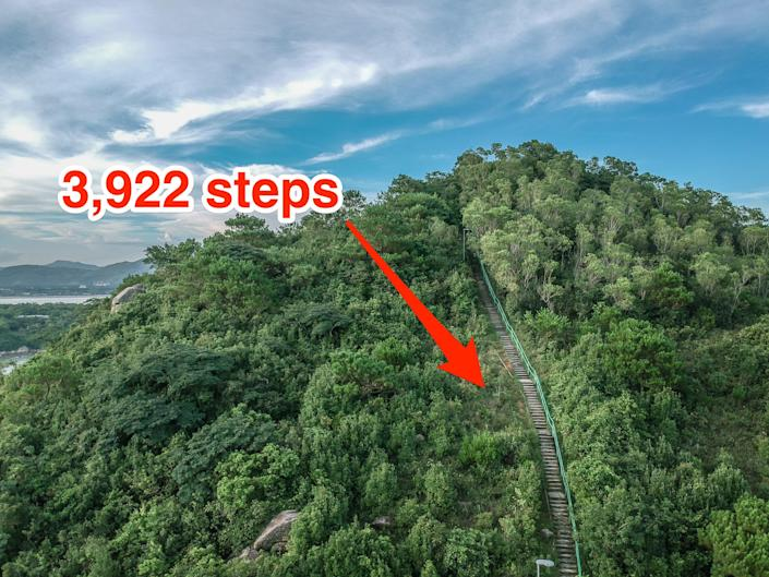 Haiku staircase, made up of 3,922 steps built into the Ko'olau mountain range, is pictured.