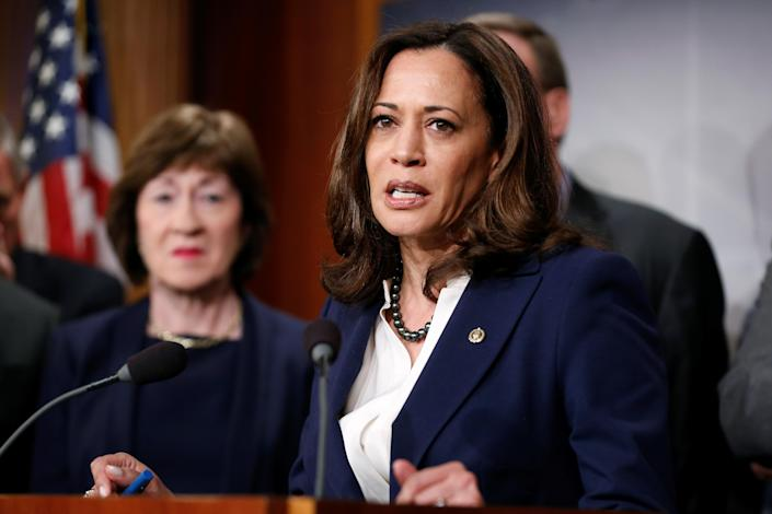 Harris speaks in March 2018 about the Senate Intelligence Committee findings on threats to election infrastructure. (Joshua Roberts/Reuters)