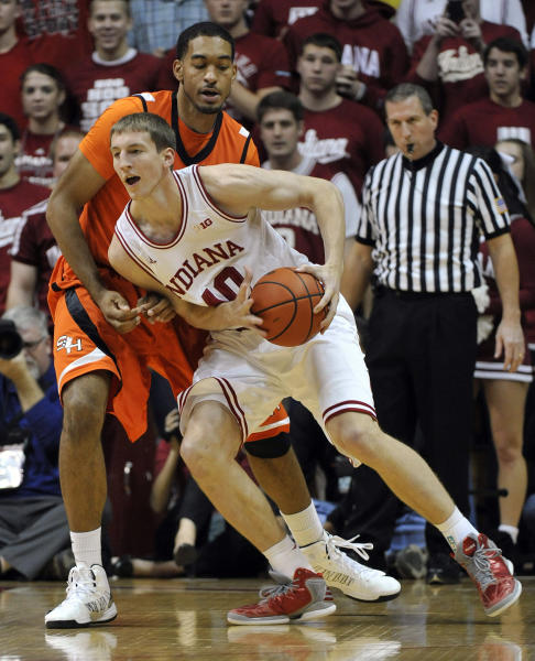 Indiana forward Cody Zeller, right, works the ball against Sam Houston State center Michael Holyfield during the first half of an NCAA college basketball game in Bloomington, Ind., Thursday, Nov. 15 2012. (AP Photo/Alan Petersime)