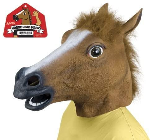 """<h2>Accoutrements Horse Head Mask</h2><br><strong>What is it?</strong> A human-size rubber replica of an equine visage<br><br><strong>What's the hottest take?</strong> Amazon reviewer DP weaves a cautionary tale: """"I could write some bulls**t story about aliens or something, but no. This horse mask changed my life. I wore it to work the day I got it, and my boss laughed so hard he gave me a raise and the day off and offered to take me out for a drink later that day to talk about my future at the company. So then, already beaming with pure ecstasy, I decided to walk the mile and a half back to my apartment instead of taking the train. I figured it was my good luck charm. <br><br>So, I was passing a Starbucks, and because of my limited field of vision (you can only see out the nostrils and mouth), I bumped into someone and they fell, spilling their hot coffee all over me. As I removed the horse mask, I could hear a light-hearted voice apologizing to me in unison. I was amazed that anyone who had their $8.00 coffee spilled by an idiot in a horse mask could do anything but scream at them. But no. As I looked out from under my mask, I saw a light, and following it, the most beautiful angelic woman I had ever seen. She said she'd never met anyone so bold and stupid to saunter about in a horse mask during lunch hours, and told me she'd just been fired. I offered to buy her lunch. We went to a local sandwich shop and got two Italian subs and chips, but she insisted we take them to the park for a picnic. <br><br>That was a year ago. We are engaged now. I have never and will never love anyone else for the rest of my days. Thank you, Accoutrements Horse Head Mask. The real change this horse mask enabled though wasn't a career or love life change, it was much more significant. I've always had a thing for stars and planets, and have quite a nice telescope I like to gaze out at night while having a few beers. Shortly after the meeting of my fiance and career advancement, I was doi"""