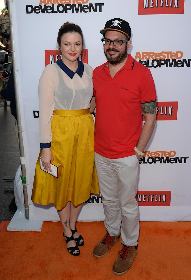 "HOLLYWOOD, CA - APRIL 29:  Actors David Cross and Amber Tamblyn arrive at the TCL Chinese Theatre for the premiere of Netflix's ""Arrested Development"" Season 4 held on April 29, 2013 in Hollywood, California.  (Photo by Jason Merritt/Getty Images)"