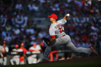 St. Louis Cardinals starting pitcher Jack Flaherty throws during the first inning of Game 5 of their National League Division Series baseball game against the Atlanta Braves, Wednesday, Oct. 9, 2019, in Atlanta. (AP Photo/John Amis)