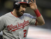 Washington Nationals' Adam Eaton celebrates after scoring against the San Francisco Giants in the third inning of a baseball game Monday, Aug. 5, 2019, in San Francisco. (AP Photo/Ben Margot)