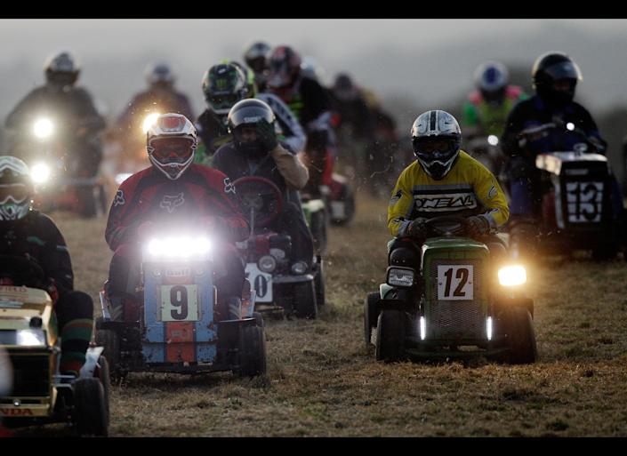 Competitors race in the 12-hour Lawn Mower Endurance Race on September 24, 2011 in Billingshurst, England. First started in 1973 as a motorsport that would be accessible to as many as possible, this year's competition included more than 30 teams including some from South Africa, America and Luxembourg.