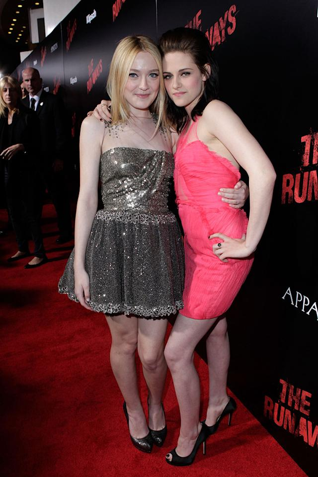 """<a href=""""http://movies.yahoo.com/movie/contributor/1804501481"""">Dakota Fanning</a> and <a href=""""http://movies.yahoo.com/movie/contributor/1807776250"""">Kristen Stewart</a> at the Los Angeles premiere of <a href=""""http://movies.yahoo.com/movie/1810129048/info"""">The Runaways</a> - 03/11/2010"""
