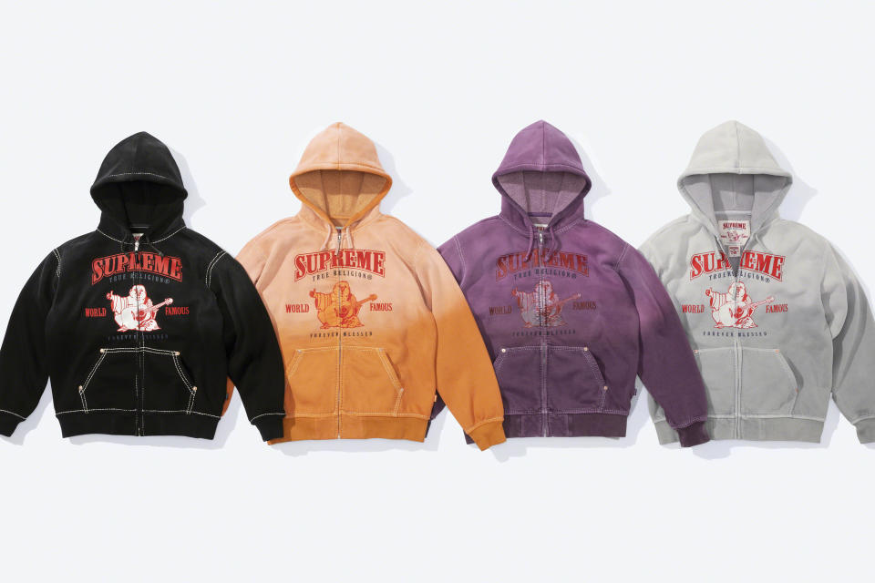 Hoodies from the Supreme/True Religion capsule collection.