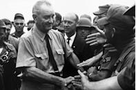 """<p> President Johnson issued the first presidential proclamation honoring fathers and designated the third Sunday of June as <a href=""""https://www.loc.gov/wiseguide/jun03/father.html"""" rel=""""nofollow noopener"""" target=""""_blank"""" data-ylk=""""slk:Father's Day."""" class=""""link rapid-noclick-resp"""">Father's Day.</a> </p>"""
