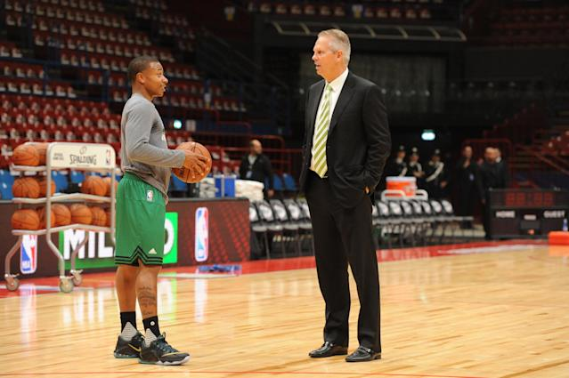 """Last year, <a class=""""link rapid-noclick-resp"""" href=""""/nba/players/4942/"""" data-ylk=""""slk:Isaiah Thomas"""">Isaiah Thomas</a> wasn't sure he'd 'ever talk to Danny [Ainge] again' after his trade to Cleveland. That evidently changed this summer. (Getty)"""