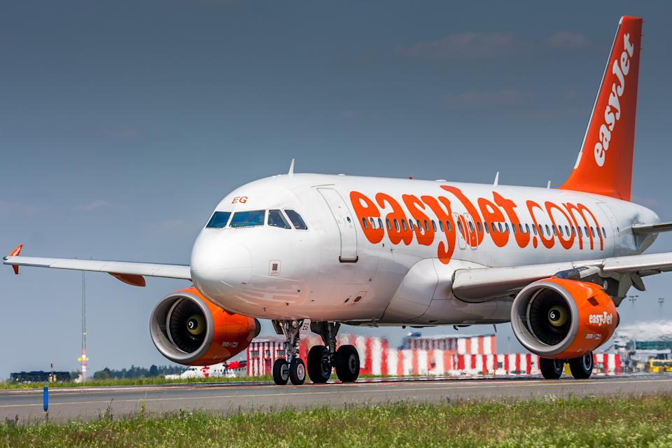 Prague, Czech Republic - July 1, 2015: Airbus A320 of EasyJet. Image was taken at Vaclav Havel airport.