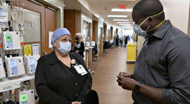 PHOTO: Yolanda Leyva, Program Manager for ECMO at University of Texas Medical Branch's Jennie Sealy Hospital speaks with ABC News' Marcus Moore in the hospital's intensive care unit. (ABC )