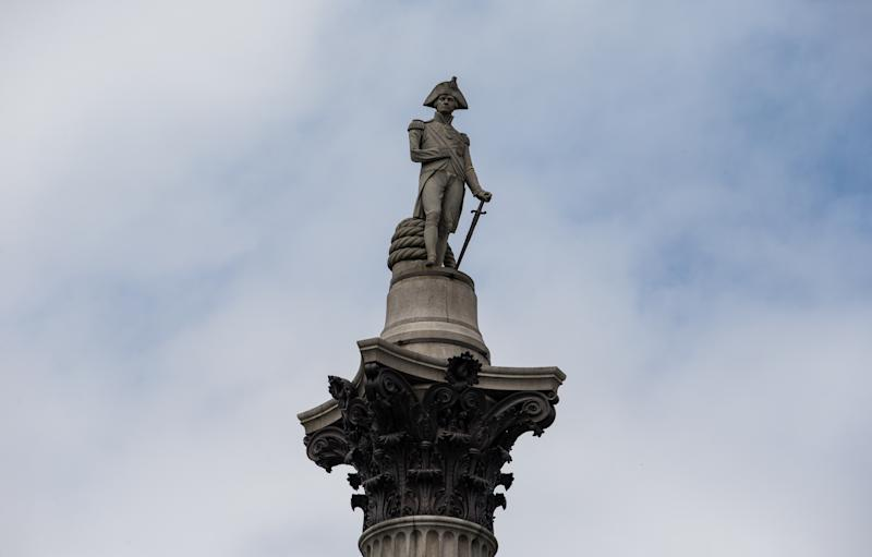 A general view of the statue at the top of Nelson's Column in Trafalgar Square in central London. It was built to commemorate Admiral Horatio Nelson, who died at the Battle of Trafalgar in 1805.
