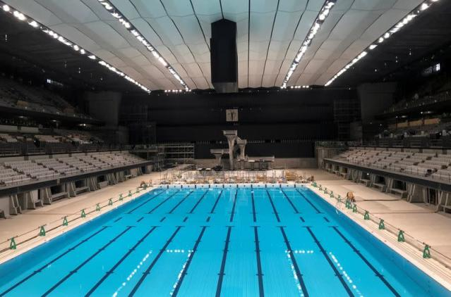 An interior view of Tokyo Aquatics Centre, the venue for Tokyo 2020 Olympic and Paralympic Games swimming and diving events, in Tokyo