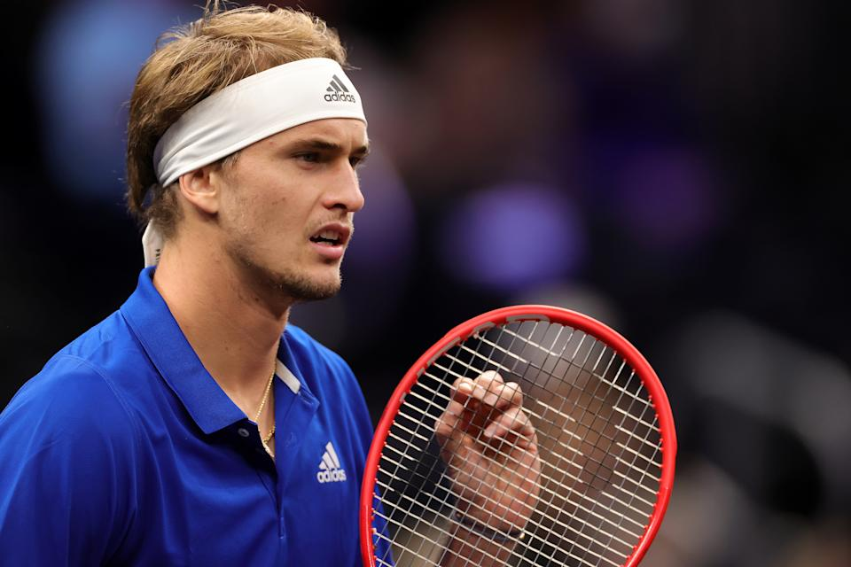 BOSTON, MASSACHUSETTS - SEPTEMBER 25: Alexander Zverev of Team Europe prepares to play a shot against John Isner of Team World during the sixth match during Day 2 of the 2021 Laver Cup at TD Garden on September 25, 2021 in Boston, Massachusetts. (Photo by Carmen Mandato/Getty Images for Laver Cup)
