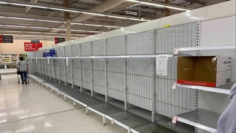 Empty shelves at Coles in Mildura amid coronavirus panic-buying.