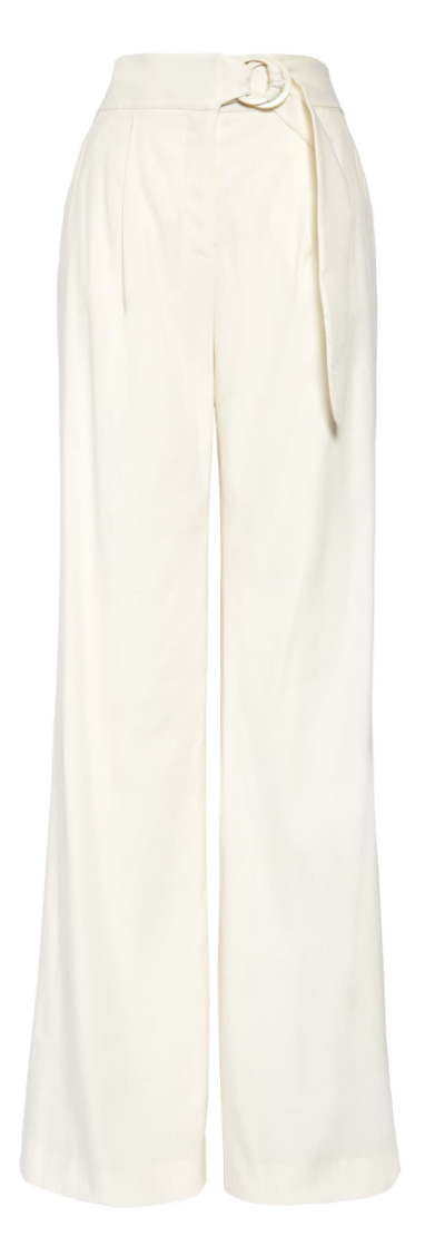 Veronica Beard Woode Belted Linen Blend Wide Leg Pants