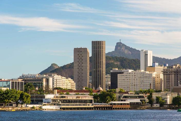 Rio de Janeiro city skyline from the water during the day