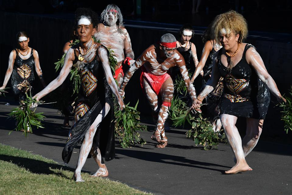 Indigenous performances during the WugulOra Morning Ceremony at Barangaroo Reserve during Australia Day in Sydney. Source: AAP