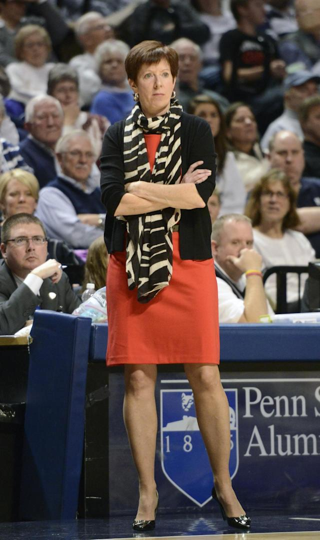 Notre Dame head coach Muffet McGraw leads her team during the second half of an NCAA college basketball game against Penn State, Wednesday, Dec. 4, 2013, in State College, Pa. Notre Dame defeated Penn State 77-67. (AP Photo/John Beale)