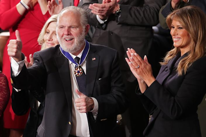 Rush Limbaugh shortly after being awarded the Presidential Medal of Freedom by First Lady Melania Trump during President Donald Trump's State of the Union address in 2020. (Photo: Jonathan Ernst / Reuters)