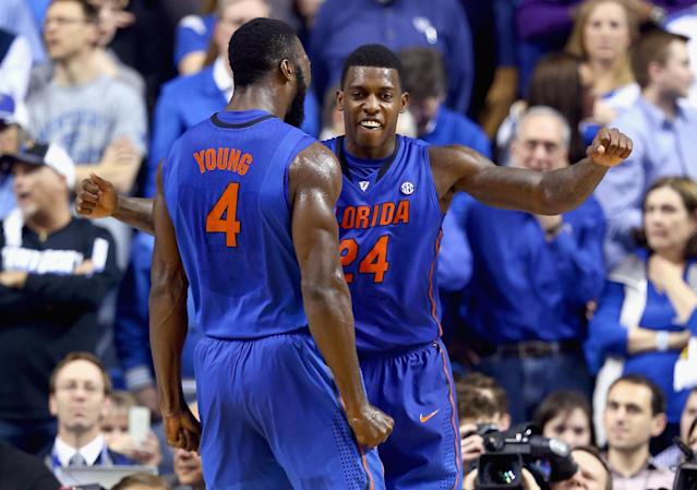 LEXINGTON, KY - FEBRUARY 15: Patric Young #4 and Casey Prather #24 of the Florida Gators celebrates during the game against the Kentucky Wildcats at Rupp Arena on February 15, 2014 in Lexington, Kentucky. Florida won 69-59. (Photo by Andy Lyons/Getty Images)