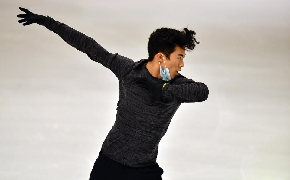 Nathan Chen of the USA performs during a practice session at the Figure Skating World Championships in Stockholm, Sweden, Tuesday, March 23, 2021. (AP Photo/Martin Meissner)