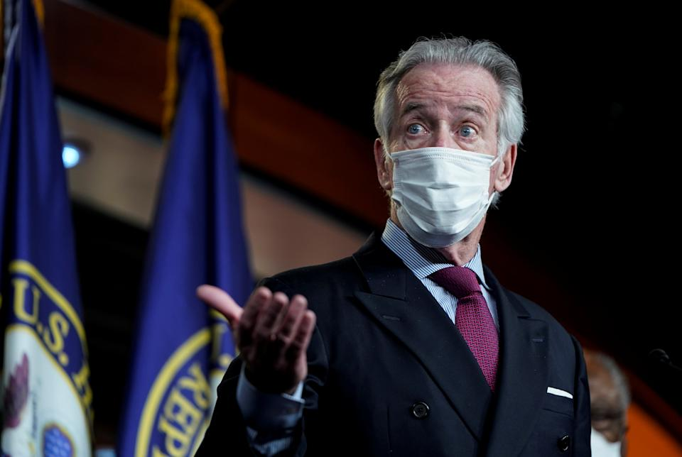 U.S. House Ways and Means Committee Chairman Richard Neal (D-MA) speaks to reporters as House Democrats hold a news conference ahead of the final House passage of the Biden administration's $1.9 trillion coronavirus disease (COVID-19) relief bill on Capitol Hill in Washington, U.S., March 9, 2021. REUTERS/Joshua Roberts