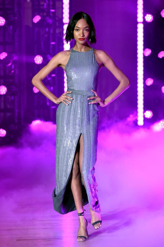 <p>A sleeveless sequined dress at the Brandon Maxwell FW18 show. (Photo: Getty) </p>