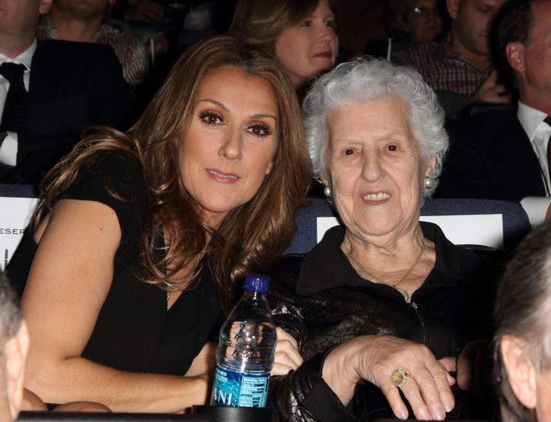Celine Dion and her mother Therese Tanguay Dion attend the premiere of Celine: Through The Eyes of The World presented by Piaget at Regal South Beach Cinema on February 16, 2010 in Miami Beach, Florida.