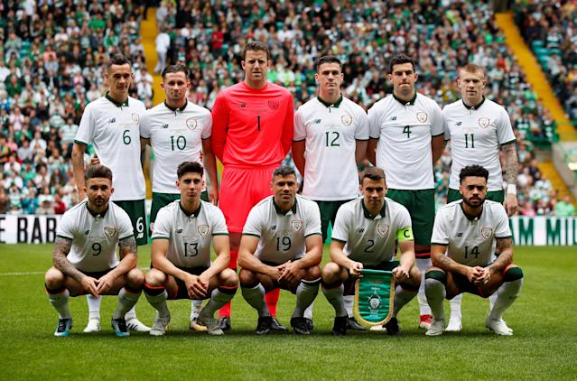 Soccer Football - Celtic vs Ireland XI - Scott Brown Testimonial - Celtic Park, Glasgow, Britain - May 20, 2018 Ireland XI players pose for a team group photo before the match Action Images via Reuters/Jason Cairnduff