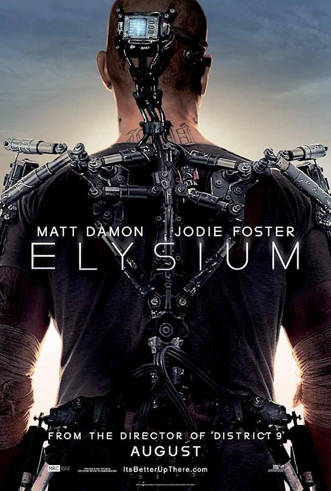 "Columbia Pictures' ""<a href=""http://movies.yahoo.com/movie/elysium-2013/"">Elysium</a>,"" starring Matt Damon and Jodi Foster.<br><br>Synopsis: The impoverished inhabitants of a ruined planet Earth fight to join the safe and pristine living conditions of the space station Elysium, where only the wealthy and healthy reside. In need of medical treatment only available on Elysium, one resident of the planet's slums attempts to reach the space station at any cost, and his actions could offset the entire balance of have's and have-not's. <br><br>For more on ""Elysium,"" check out our <a href=""http://movies.yahoo.com/blogs/movie-talk/comic-con-2012-elysium-preview-rocks-hall-h-170528136.html"">report from Comic-Con</a>, or wait for tomorrow's trailer premiere, exclusively on Yahoo! Movies."