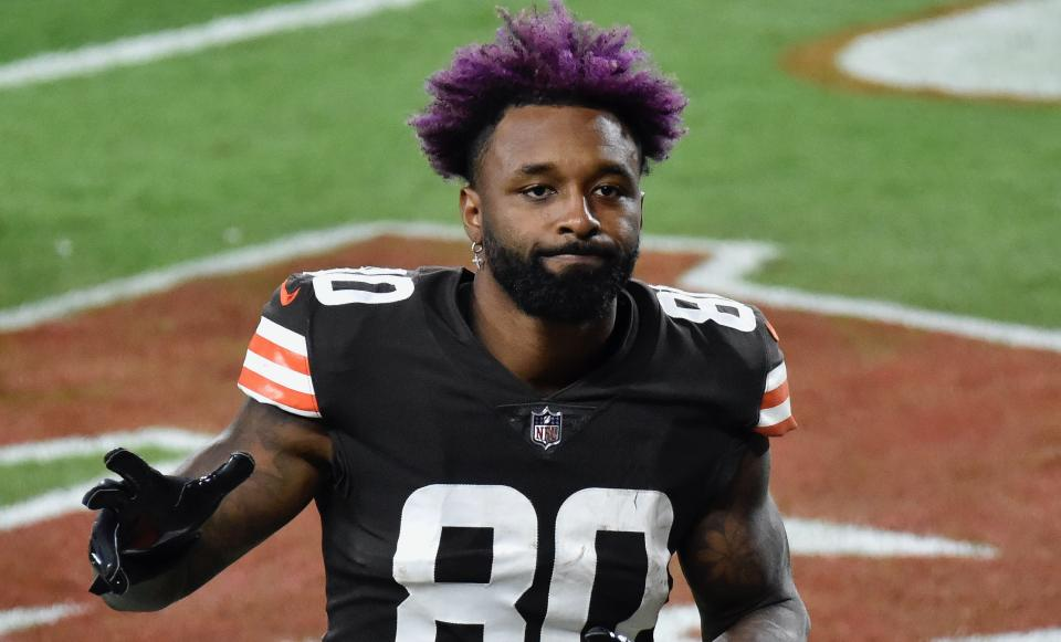 Jarvis Landry responded as expected to Marcus Peters repeated acts of disrespect. (Jason Miller/Getty Images)