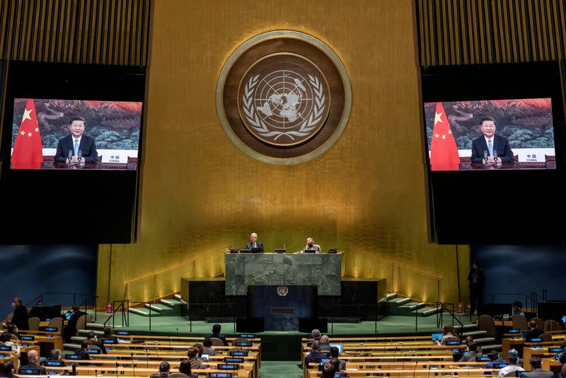 FILE PHOTO: People's Republic of China President Xi Jinping speaks during the 75th annual U.N. General Assembly