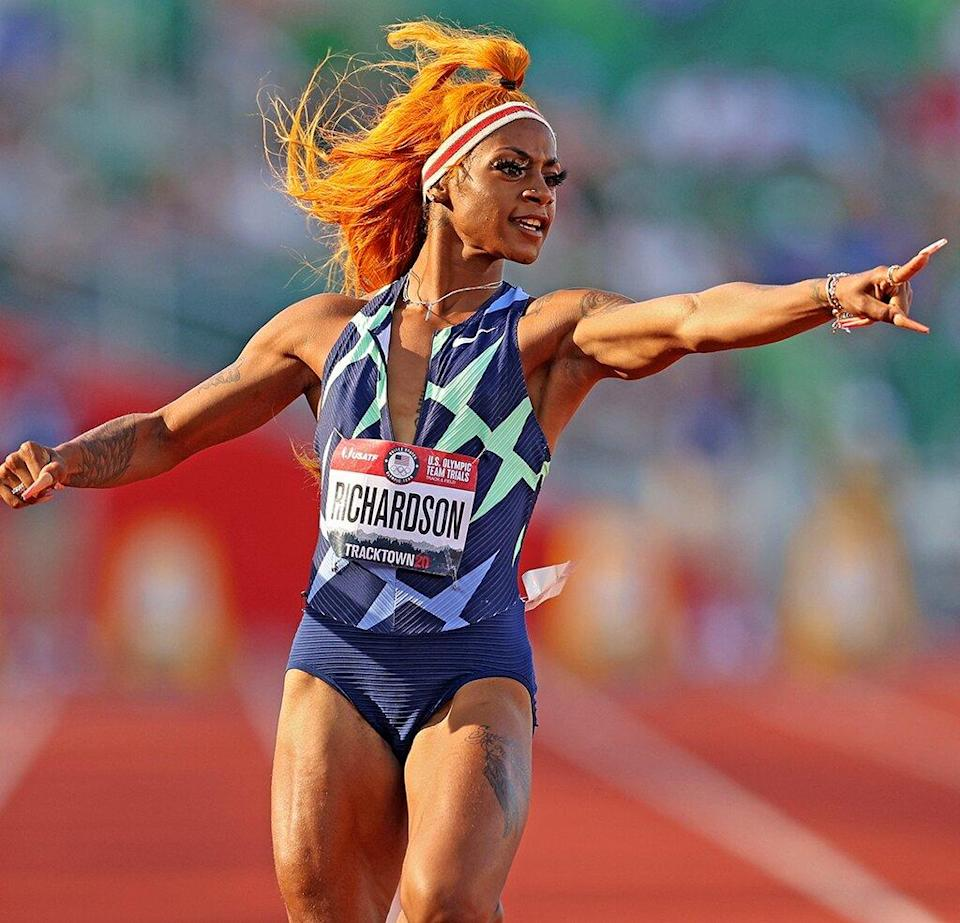 Sha'Carri Richardson reacts after competing in the Women's 100 Meter Semi-finals on day 2 of the 2020 U.S. Olympic Track & Field Team Trials at Hayward Field on June 19, 2021