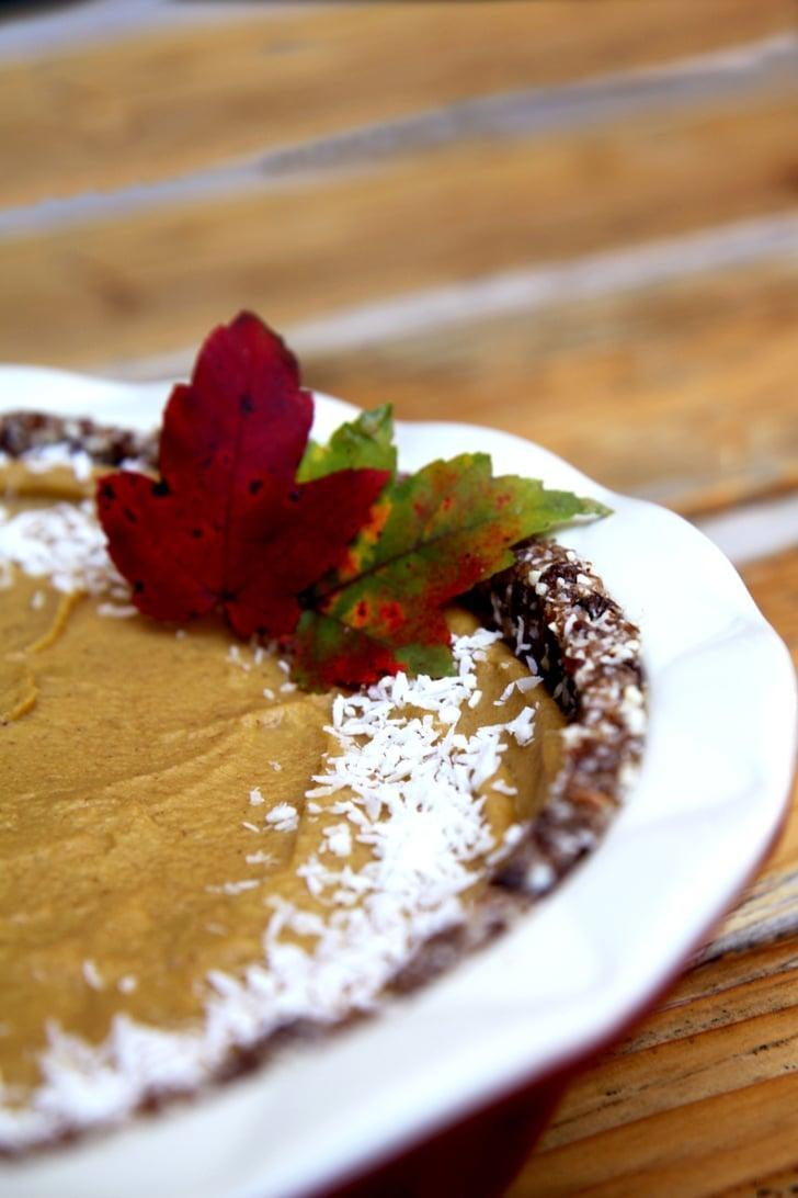 """<p>This simple pumpkin pie will have your traditional-pumpkin-pie-loving friends oohing and ahhing. It's raw, gluten-free, and vegan. Since the crust is made with nuts, each slice offers almost five grams of protein.</p> <p><strong>Get the recipe:</strong> <a href=""""https://www.popsugar.com/fitness/Raw-Vegan-Pumpkin-Pie-Recipe-31964523"""" class=""""link rapid-noclick-resp"""" rel=""""nofollow noopener"""" target=""""_blank"""" data-ylk=""""slk:vegan pumpkin pie"""">vegan pumpkin pie</a></p>"""
