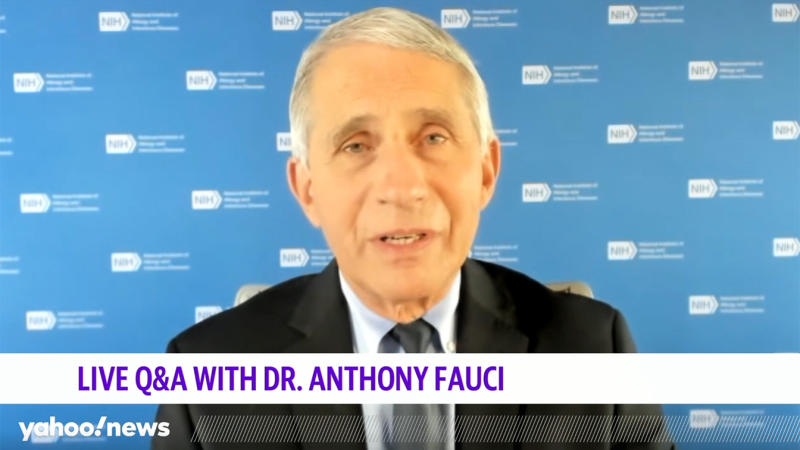 Screenshot of Anthony Fauci on live call with Yahoo News