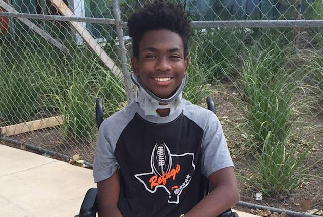 Eight weeks after losing feeling in his arms and legs, Casey Henderson walked back onto the football field at Refugio High. (Courtesy of Nicole Henderson)