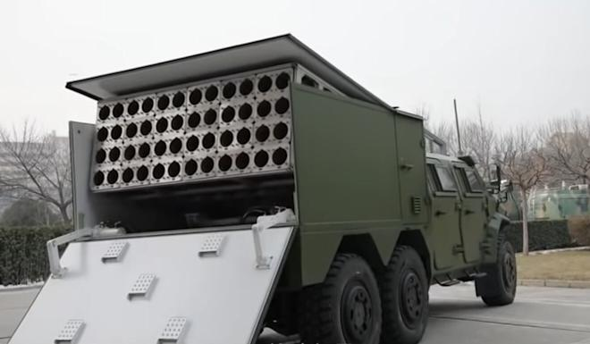 The drones were fired from a launcher mounted on a modified version of the PLA's Dongfeng Mengshi light tactical vehicle. Photo: Weibo