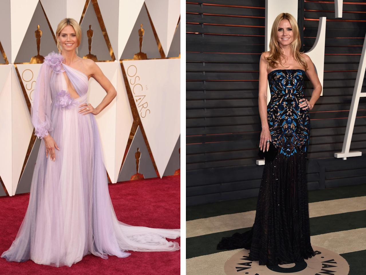 <p>Heidi Klum found herself on Worst Dressed lists for wearing this lilac Marchesa gown made with too much tulle. But the afterparty was her time for redemption, seeing as she changed into a simpler, black strapless gown from Atelier Versace.<i>(Photos: Getty Images)</i></p>